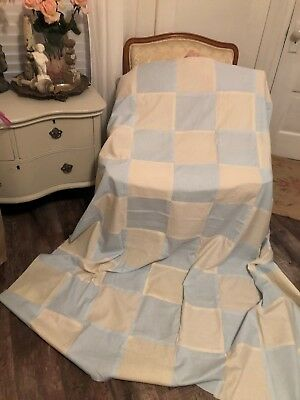 ~Lovely Vintage Handmade 63X70 Lt Blue & Unbleached Muslin Cotton Quilt Top~