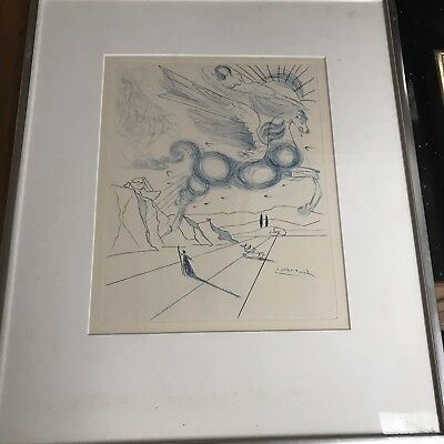 "Vintage 1970 SALVADOR DALI Engraving ""Pegasus in Flight with Angel"" mod Art"