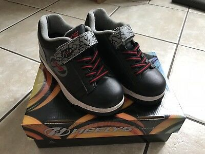 HEELYS Dual Up X2 Boys Black Grey Elephant Trainers Shoes With Wheels size 1