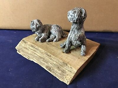 Vintage Hand Sculpted Pottery Shaggy Dogs on Rustic Wood Base Estate