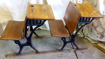 Antique Sears Roebuck & Co. Wood Student School attached 2 Desks/2 Seats