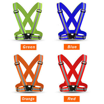 High Visibility Neon Safety Vest Reflective Belt Band For Night Running Cycling