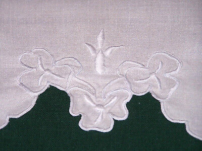 Pretty Vintage Linen Hand Towel, Floral Whitework Embroidery, Ex Cond C1920