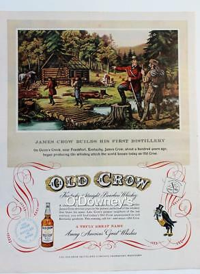 Vintage ad Old Crow Kentucky Bourbon Whiskey Currier & Ives Illus. Man Cave Art
