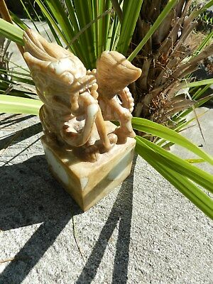 LARGE SIZE,Old Chinese  Stone Hand Carved Dragon Animal Statue Seal Stamp CHOP