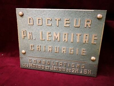 Vintage 1950s French Doctor 'Docteur Chirurgie' Hammered Enamel Sign 36cm x 28cm
