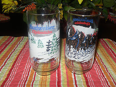 1995 Budweiser Clydesdale Winter Snow Set 2 Glasses Tumblers 16Oz Never Used