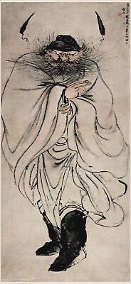 Chinese traditional scroll painting ZhongKui on angry Painted by finger