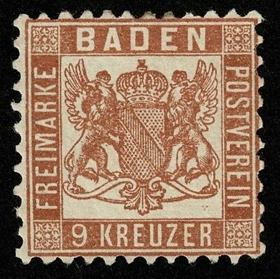 German State Baden Stamp Scott#17 9kr Coat of Arms Mint No Gum Well Centered