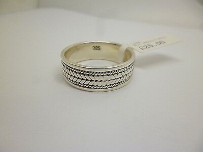 """Sterling silver patterned wedding band 9mm ring and stamped """"925"""" size Z"""