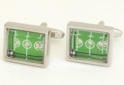 One Pair Football Pitch Silver  Novelty Cufflinks In Gift Box