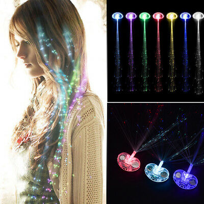 LED Light Up Hair Extensions Hairpin Fiber Optic Hair Clip Rave Party Women Lady