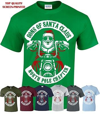 Sons Of Santa Men T-Shirt/Funny/Biker/Decembeard/Fancy/Christmas/Gift/Xmas Top