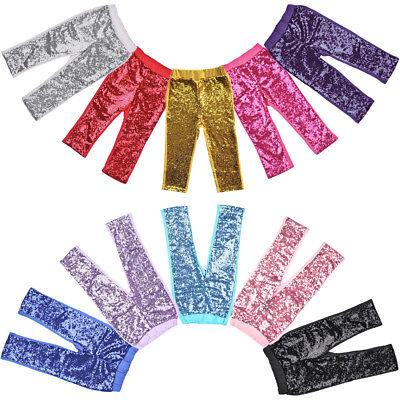 Toddler Baby Kid Girl Sequins Shiny Leggings Long Pants For Birthday Party Dance