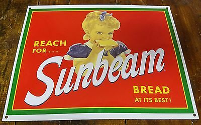 Reach For Sunbeam Bread At Its Best Blonde Headed Girl Porcelain Enamel Sign