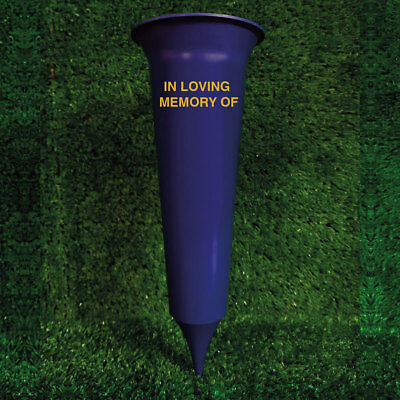 In Loving Memory Royal Blue Plastic Grave Spike - MK Grave Vases