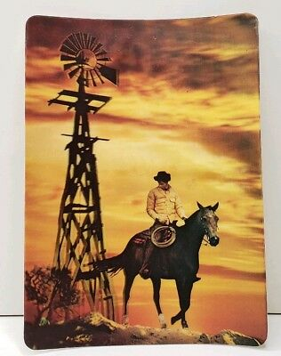 COWBOY and WINDMILL Beautiful Golden Skies 3D Lenticular Vintage Postcard A13