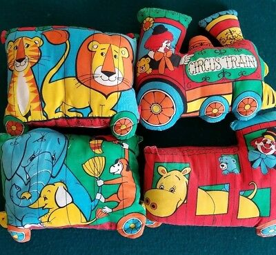 Vintage Retro Mod Cut N Sew Circus Train Pillows Toy Nursery Kids Room Decor