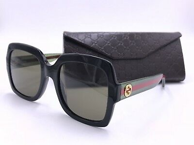 11af0af075e Gucci Designer Gg0036S 002 Black Green  Red Square Authentic Italy 54-22 140