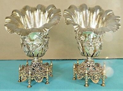 Rare Pair Ottoman Turkish Sterling Silver Parcel Gilt Vases Birds Flowers C1870