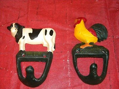 2 Cast Iron COW  CHICKEN Towel Hanger Coat  Hat Hooks, Key Rack RANCH Hook FARM
