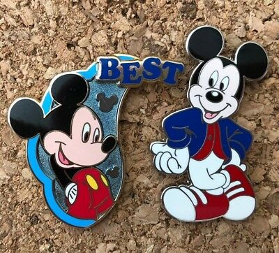 lot of 2 disney trading pins BEST friend half BFF mystery set mickey modern ages