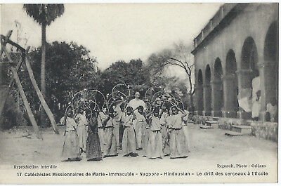 INDIA - NAGPORE - CHILDREN WITH HOOPS - 1910s - excellent condition