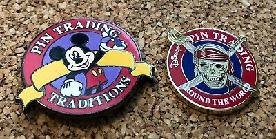 lot of 2 disney trading pins pirate skull traditions mickey mouse around world