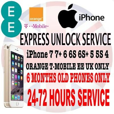 Factory Unlocking Service For Apple iPhone 4S 5 5C SE 5S - UK EE Orange Tmobile