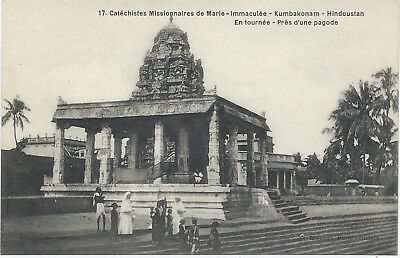 INDIA - KUMBAKONAM - ON TOUR NEAR A TEMPLE - 1910 - excellent condition