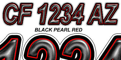 PEARL BLACK RED Custom Boat Registration Number Decals Vinyl Lettering Stickers