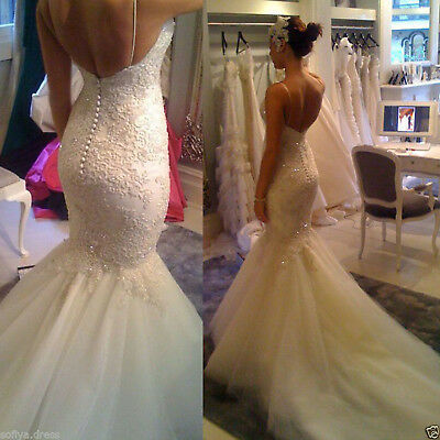 Sexy Tulle Spaghetti Straps Lace Appliques Backless Mermaid Wedding Dress Gowns