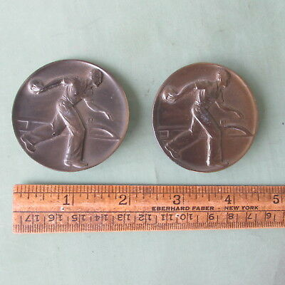 """old vintage antique Man with BOWLING ball bowling 2"""" Brass COIN size EMBLEMs wow"""