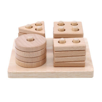 Geometric Sorting Shape Wood Stacking Puzzled Montessori for Toddlers Toys one