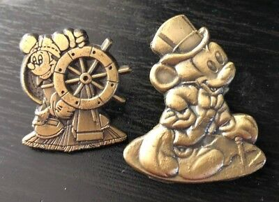 lot of 2 disney trading pins statue bronze pewter cruise ship captain mickey hat