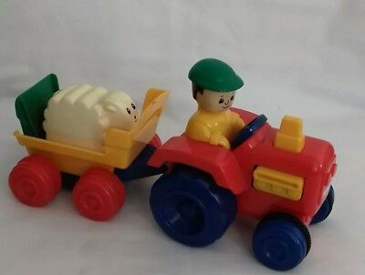 VINTAGE TOMY TRACTOR & TRAILER WITH  A SHEEP 1990 kids toy.