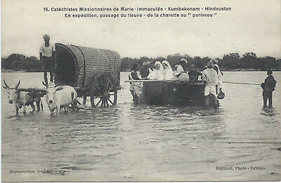 INDIA KUMBAKONAM - PASSING THROUGH THE RIVER  (funny)- 1910- excellent condition