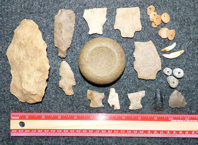 Collection of Ancient Cherokee Artifacts Large Discoid Game Boone Lake Tennessee