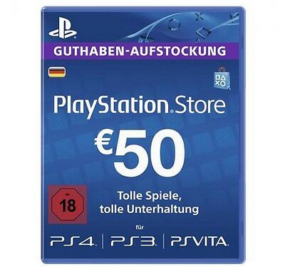 50€ (EURO) Playstation Network Card Guthaben [Key/Code] - PS3, PS4, PS Vita -DE