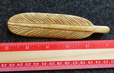 Original Old Indian Eagle Feather Pendant Carved Bone Great Patina