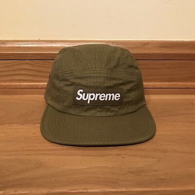 Supreme Overdyed Ripstop Camp Cap Olive DS FW17 inkl. Supreme Box Logo Sticker
