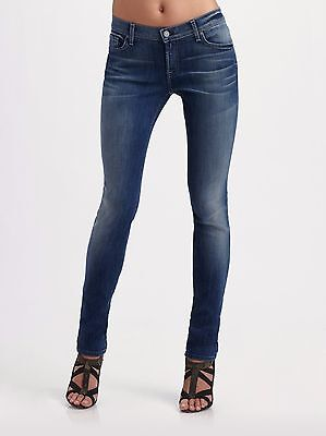 7 For All Mankind Roxanne Skinny Jeans Womens 27 x 32 Medium Wash Cotton Blend