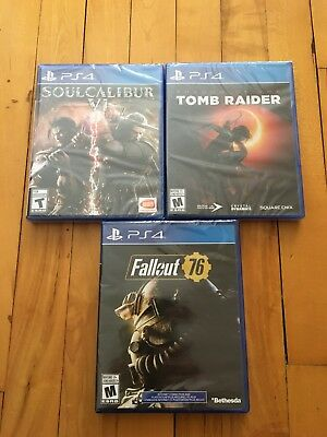 Brand New Sealed PS4 Games Lot of 3 - (Tomb Raider, Soul Calibur 6 & Fallout 76)
