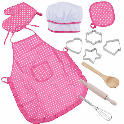 11pcs Kid Kitchen Cooking Baking Pretend Furniture Apron Role Play House Set Toy