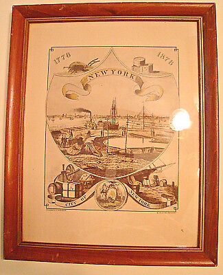Vintage 1776-1876 Litho NEW YORK HARBOR from 1876 PHILADELPHIA WORLD'S FAIR