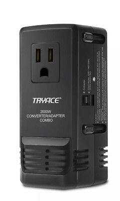 TryAce 2000W Worldwide Travel Converter and Adapter for Hair Dryer/Phones/Laptop