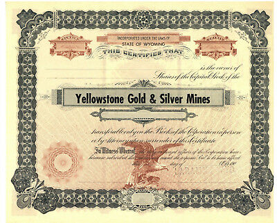 Yellowstone Gold & Silver Mines. Stock Certificate. Wyoming