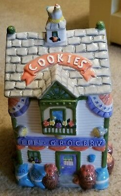 """Ceramic Cookie Jar Lil' Grocery Store Fruits/Vegetables, Chicken 10""""H, 6""""W, 5""""D"""