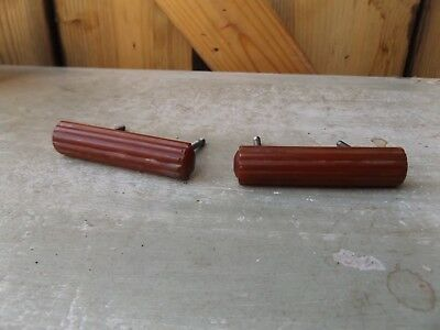 Pair Vintage Art Deco ambe Bakelite Door Handles Pulls 30s 40s Cupboard Drawers