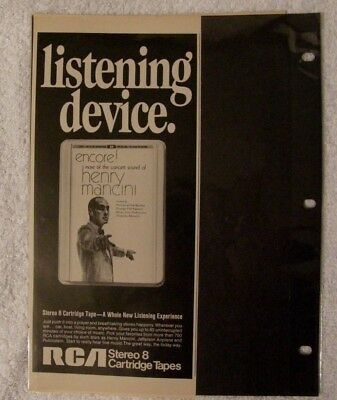 Vintage Ad RCA Stereo 8 Cartridge Tapes - Listening device - Henry Mancini